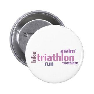 Triathlon Text 6 Cm Round Badge