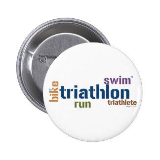 Triathlon Text Pinback Button
