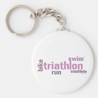 Triathlon Text Keychain