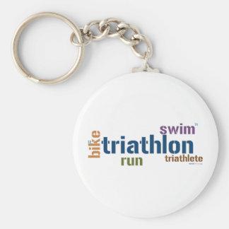 Triathlon Text Key Chains