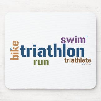 Triathlon Text Mouse Pads