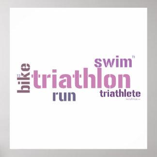 Triathlon Text Print