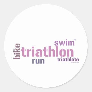 Triathlon Text Round Sticker