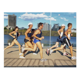 Triathloners Running 2 Postcard