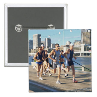 Triathloners Running 3 15 Cm Square Badge