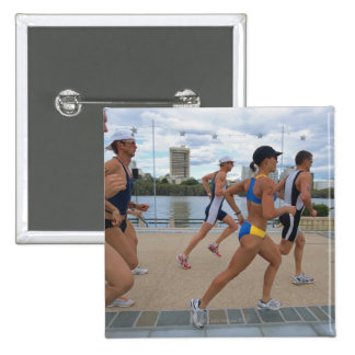 Triathloners Running 4 15 Cm Square Badge