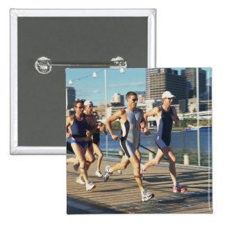 Triathloners Running 15 Cm Square Badge