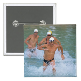Triathloners Running out of Water 2 15 Cm Square Badge