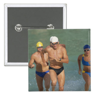 Triathloners Running out of Water 3 15 Cm Square Badge
