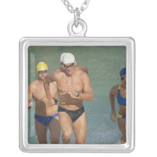 Triathloners Running out of Water 3 Custom Jewelry