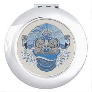 Tribal Abstract Monkey Face Design Mirror For Makeup