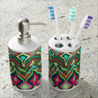 Tribal abstract pattern soap dispenser and toothbrush holder