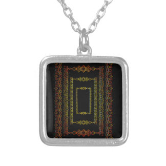Tribal abstract. silver plated necklace