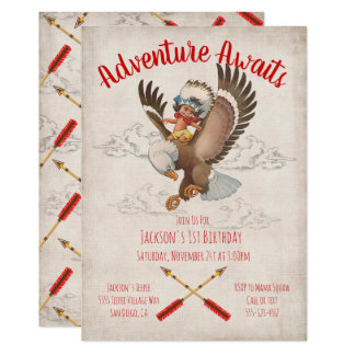 Tribal Adventure Indian Birthday Party Card