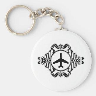 Tribal Airplane Basic Round Button Key Ring