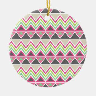Tribal andes aztec chevron zigzag triangle zig zag round ceramic decoration