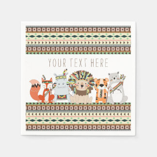 Tribal Animal Baby Shower Disposable Napkins