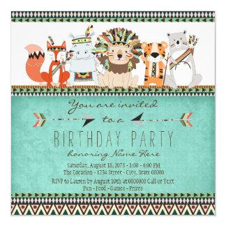 Tribal Animal Kids Native American Birthday Party 13 Cm X 13 Cm Square Invitation Card