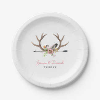 Tribal Arrow and Antlers Paper Plate