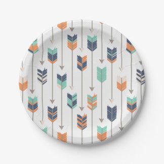Tribal Arrow Blue Orange Green Paper Plates