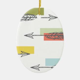 Tribal Arrow Geometric Modern Art Colorful Ceramic Ornament