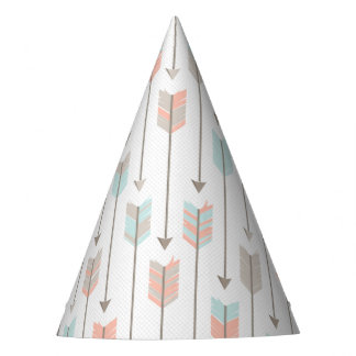 Tribal Arrow Grey Pink Blue Birthday Party Hat