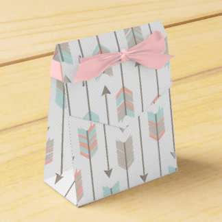 Tribal Arrow Grey Pink Blue Favor Box