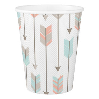 Tribal Arrow Grey Pink Blue Paper Cups