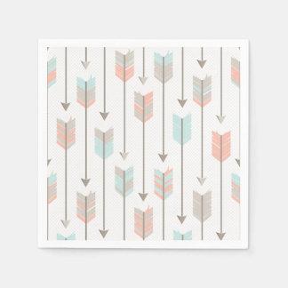 Tribal Arrow Grey Pink Blue Paper Napkins Disposable Serviette