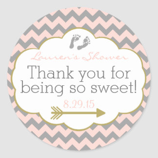 Tribal Arrow Peach and Grey Chevron Classic Round Sticker