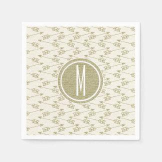 Tribal Arrows   Gold Glitter Monogram Paper Serviettes