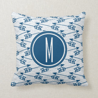 Tribal Arrows | Navy Monogram Cushion