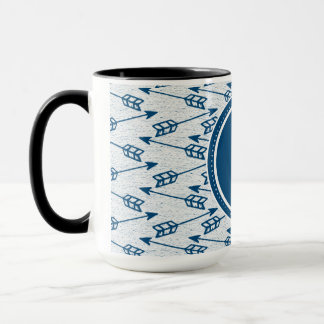 Tribal Arrows | Navy Monogram Mug