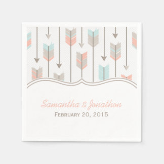 Tribal Arrows Pink Blue and Grey Wedding Disposable Napkin