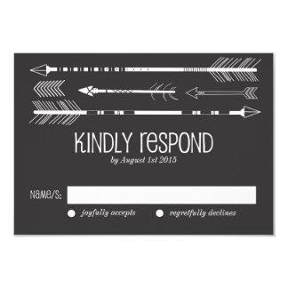 Tribal Arrows RSVP Card | Grey 9 Cm X 13 Cm Invitation Card