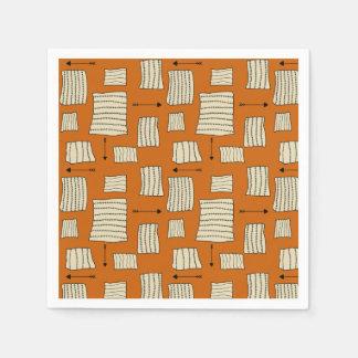 Tribal Art Pattern Arrows Shapes Tan Black Pumpkin Paper Napkin