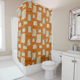 Tribal Art Pattern Arrows Shapes Tan Black Pumpkin Shower Curtain