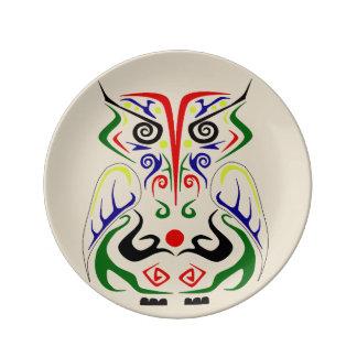 TRIBAL ART TATTOO OWL PRINT ON PORCELAIN PLATE