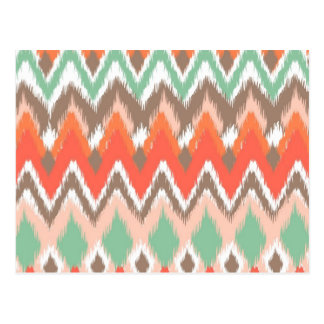 Tribal aztec chevron zig zag stripes ikat pattern postcard