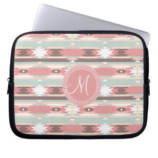 Tribal Aztec Pink Monogram Pattern Laptop Sleeve
