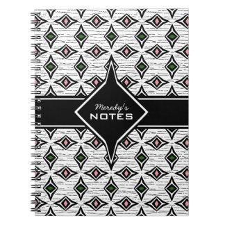 Tribal aztec style green pink diamond pattern notebook