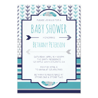 Tribal Baby Shower Invitation, Aztec, Arrows, BOHO Card
