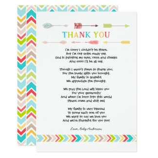 Tribal Baby Shower PoemThank you note, neutral Card