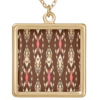 Tribal Batik - Brown, Tan and Coral Gold Plated Necklace