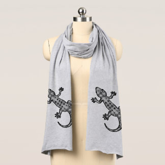 Tribal batik Gecko - black, white and gray / grey Scarf