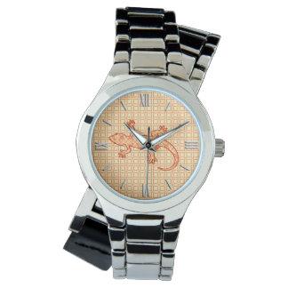 Tribal batik Gecko - coral and light orange Wrist Watch
