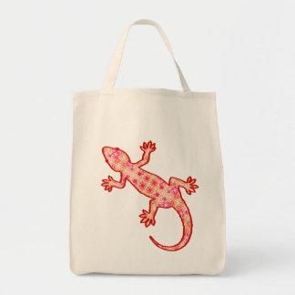 Tribal batik Gecko - Coral Orange and Cream Tote Bag