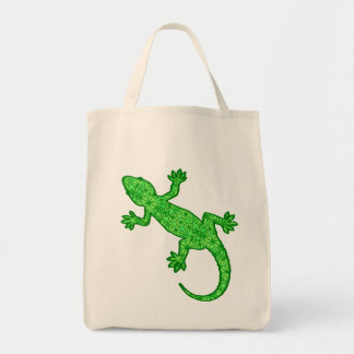 Tribal Batik Gecko - Lime and Emerald Green Tote Bag