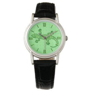 Tribal batik Gecko - lime and emerald green Wristwatch