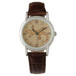 Tribal batik Gecko - rust, amber and tan Wrist Watch